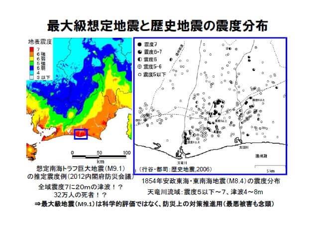 最大級想定地震と歴史地震の震度分布