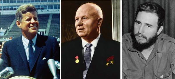 キューバ危機の3人(ケネディ大統領、フルシチョフ第一書記、カストロ議長)
